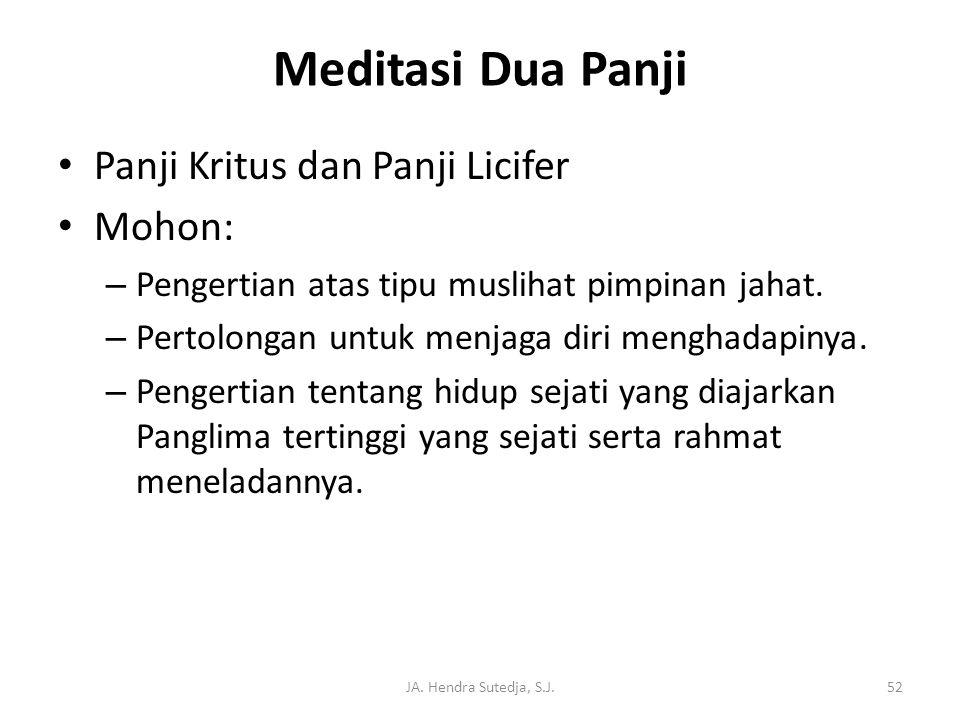 JA. Hendra Sutedja, S.J.52 Meditasi Dua Panji • Panji Kritus dan Panji Licifer • Mohon: – Pengertian atas tipu muslihat pimpinan jahat. – Pertolongan