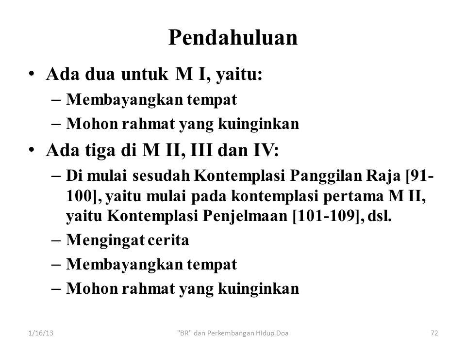 Pendahuluan • Ada dua untuk M I, yaitu: – Membayangkan tempat – Mohon rahmat yang kuinginkan • Ada tiga di M II, III dan IV: – Di mulai sesudah Kontem