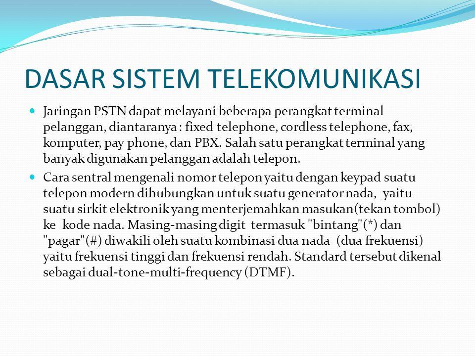DASAR SISTEM TELEKOMUNIKASI  Jaringan PSTN dapat melayani beberapa perangkat terminal pelanggan, diantaranya : fixed telephone, cordless telephone, fax, komputer, pay phone, dan PBX.
