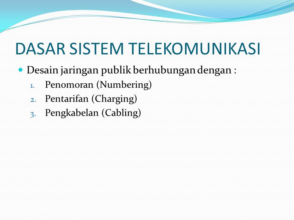 DASAR SISTEM TELEKOMUNIKASI  Desain jaringan publik berhubungan dengan : 1. Penomoran (Numbering) 2. Pentarifan (Charging) 3. Pengkabelan (Cabling)