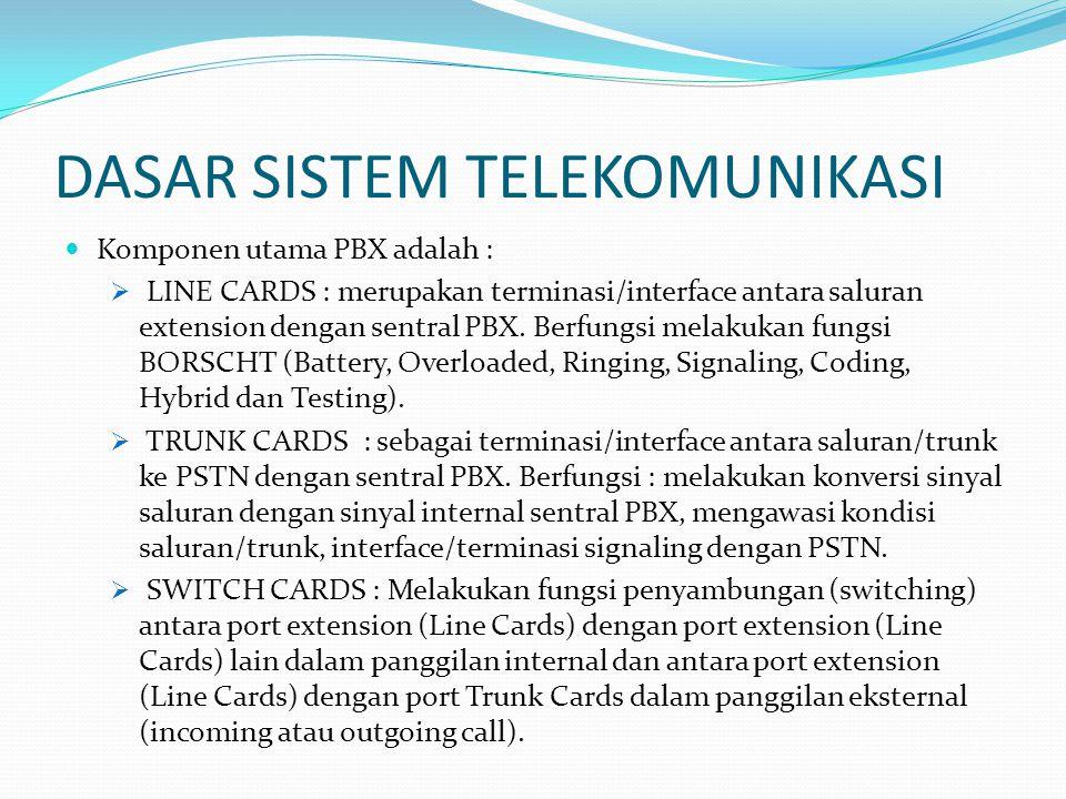 DASAR SISTEM TELEKOMUNIKASI  Komponen utama PBX adalah :  LINE CARDS : merupakan terminasi/interface antara saluran extension dengan sentral PBX. Be