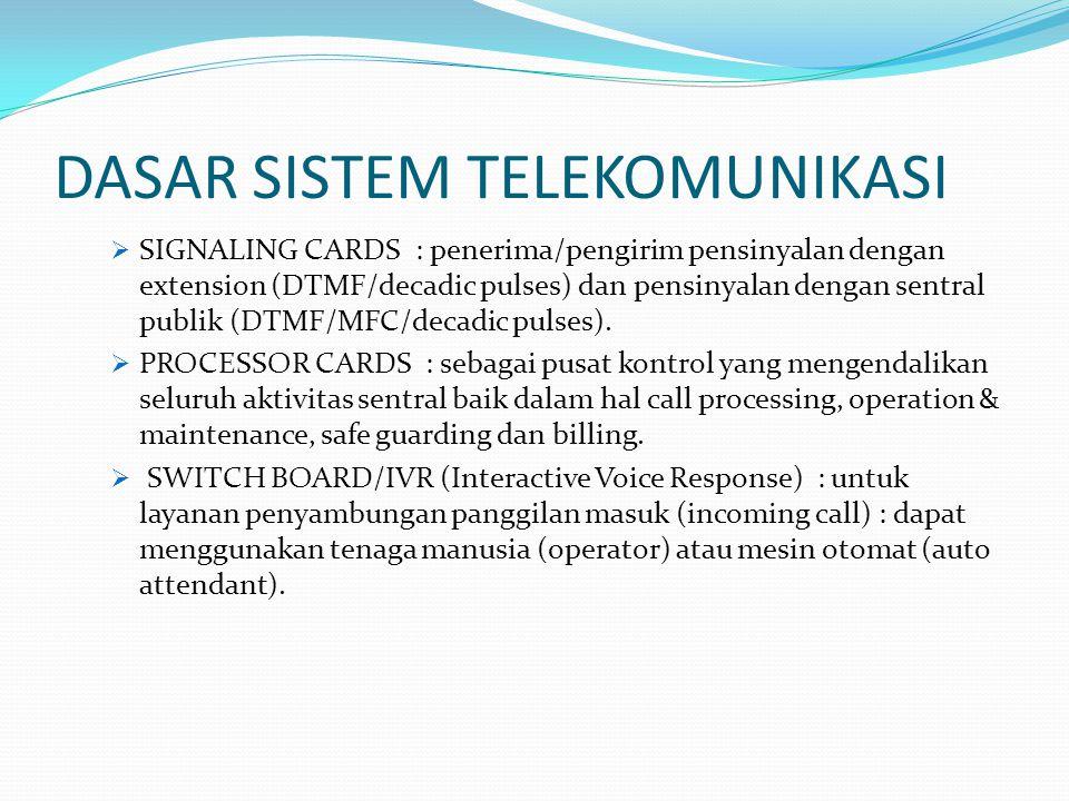 DASAR SISTEM TELEKOMUNIKASI  SIGNALING CARDS : penerima/pengirim pensinyalan dengan extension (DTMF/decadic pulses) dan pensinyalan dengan sentral publik (DTMF/MFC/decadic pulses).