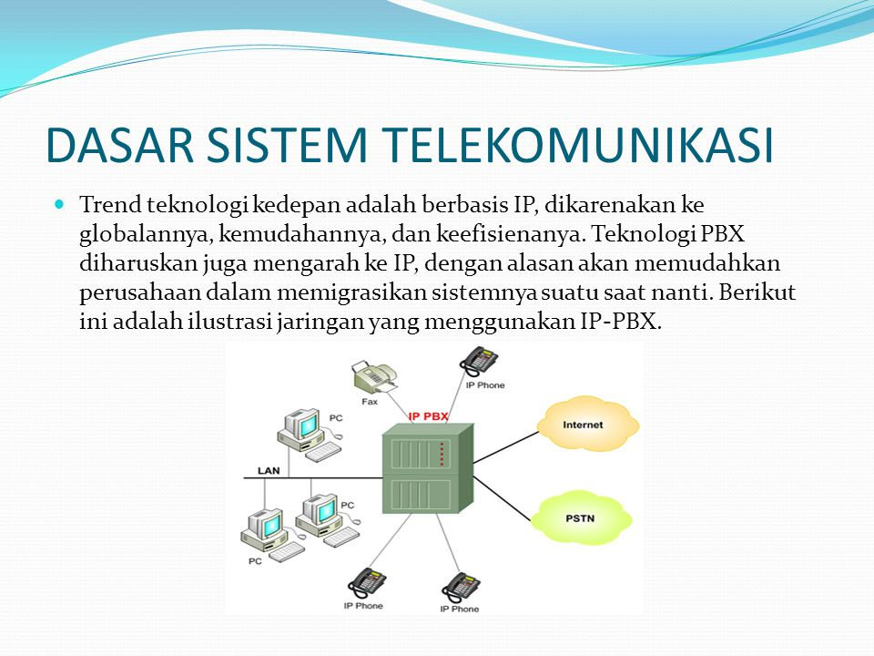 DASAR SISTEM TELEKOMUNIKASI  Trend teknologi kedepan adalah berbasis IP, dikarenakan ke globalannya, kemudahannya, dan keefisienanya. Teknologi PBX d