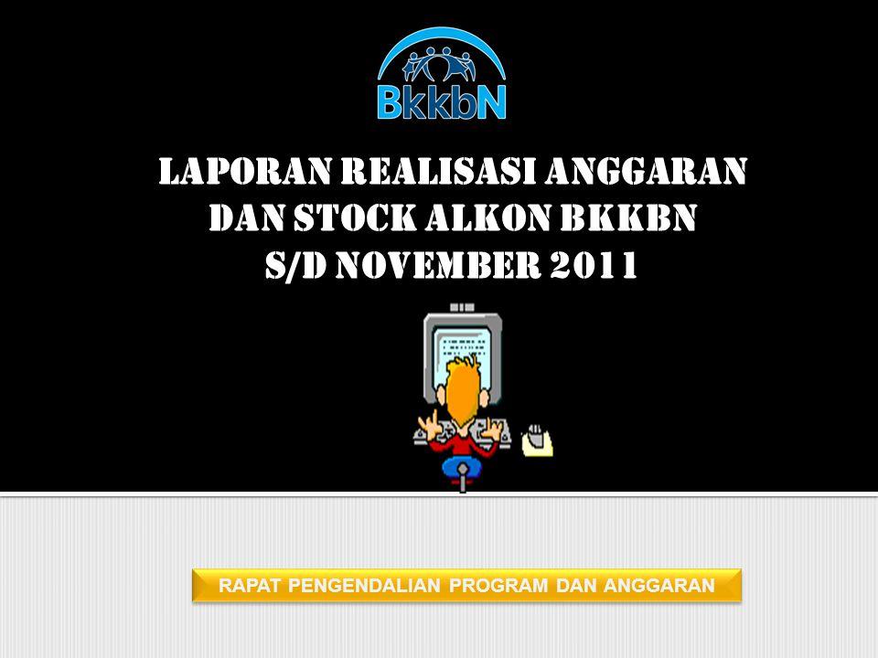 RAPAT PENGENDALIAN PROGRAM DAN ANGGARAN LAPORAN REALISASI ANGGARAN DAN STOCK ALKON BKKBN S/D NOVEMBER 2011