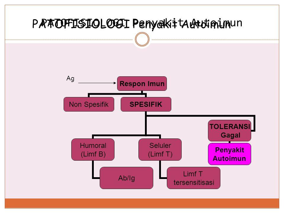 Fungsi Sistem Imun dan Penyimpangannya FungsiAsal rangsang ContohHiperakti vitas Hipoaktivi tas Defence (pertahan an) Eksogen Perlawanan thd m.o AlergiDefisiensi imun Homeosta- Tic Eksogen Endogen Penghancur an sel-sel rusak dan tidak berguna Penyakit autoimun _ Surveillance (pengawas an) Eksogen Endogen Pemusnah an sel-sel mutan dan sel neoplasma _ Penyakit keganasan