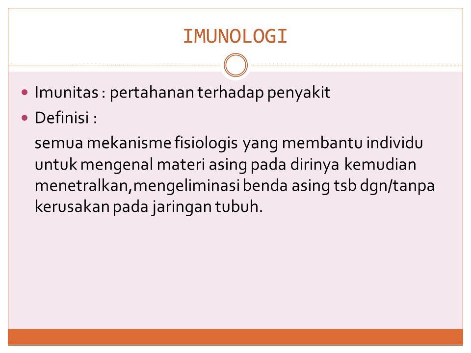 FUNGSI RESPON IMUN  1.Defence  2.Homeostatic  3.Surveillance Ketiganya seimbang = sehat Tidak seimbang = sakit/kelainan