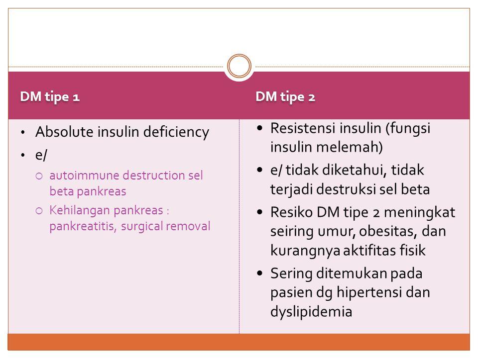 GDM / Gestational DM Other Specific Types • Intoleransi glukosa didiagnosis pd bumil yg tidak memiliki DM • Kebanyakan normal kembali setelah melahirkan, namun ↑ terjadinya DM tipe 2  Jarang terjadi  e/  cacat genetik sel beta atau aksi insulin,  penyakit pankreas,  endokrinopathies,  penggunaan obat / bahan kimia,  infeksi,  Jumlah kortisol, glukagon, epinefrin, dan GH yg berlebihan