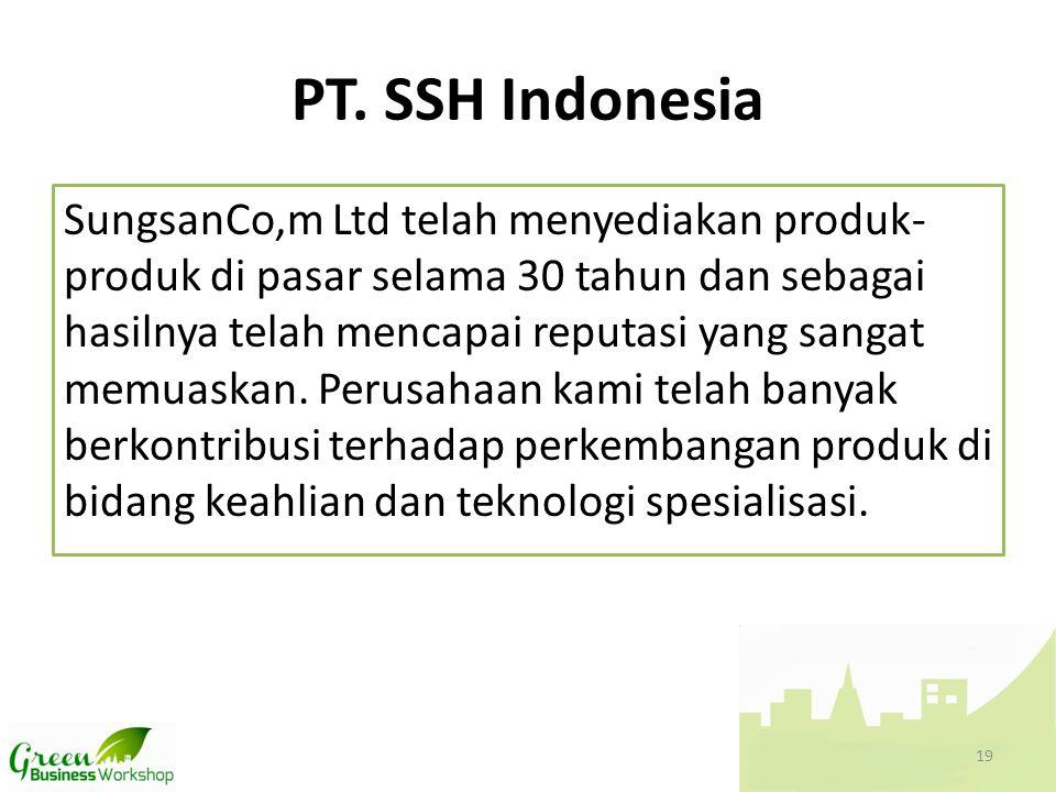 PT. SSH Indonesia SungsanCo,m Ltd telah menyediakan produk- produk di pasar selama 30 tahun dan sebagai hasilnya telah mencapai reputasi yang sangat m