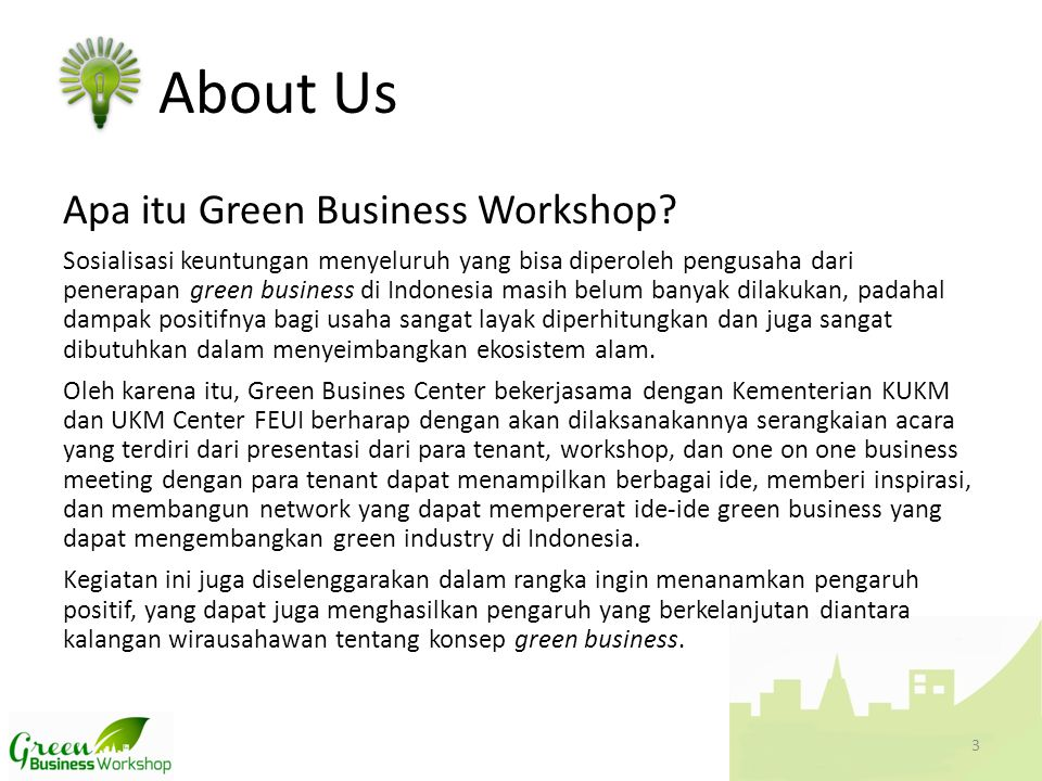 Apa itu Green Business Workshop.
