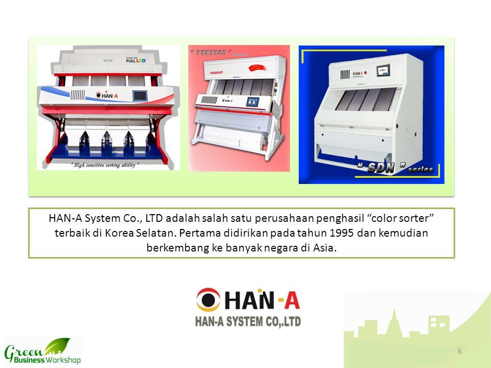 """HAN-A System Co., LTD adalah salah satu perusahaan penghasil """"color sorter"""" terbaik di Korea Selatan. Pertama didirikan pada tahun 1995 dan kemudian b"""