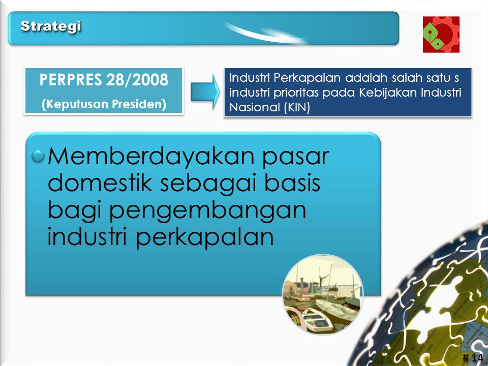 # 14 PERPRES 28/2008 (Keputusan Presiden) PERPRES 28/2008 (Keputusan Presiden) •Memberdayakan pasar domestik sebagai basis bagi pengembangan industri