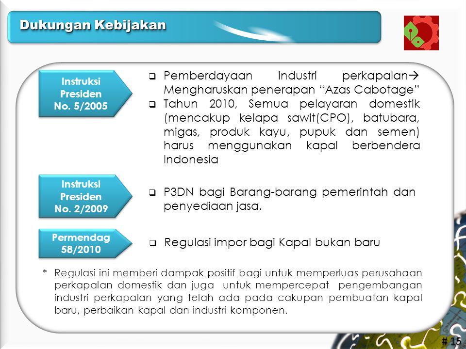"""# 15 Instruksi Presiden No. 5/2005 Instruksi Presiden No. 5/2005  Pemberdayaan industri perkapalan  Mengharuskan penerapan """"Azas Cabotage""""  Tahun 2"""