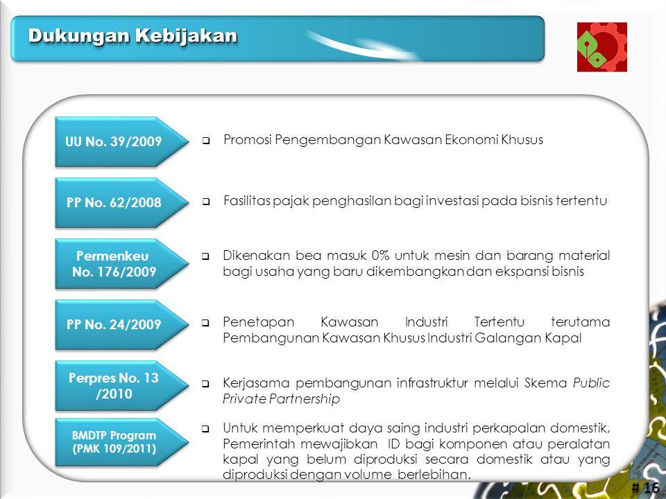 # 16 UU No. 39/2009  Fasilitas pajak penghasilan bagi investasi pada bisnis tertentu PP No. 62/2008 Permenkeu No. 176/2009 Permenkeu No. 176/2009  P