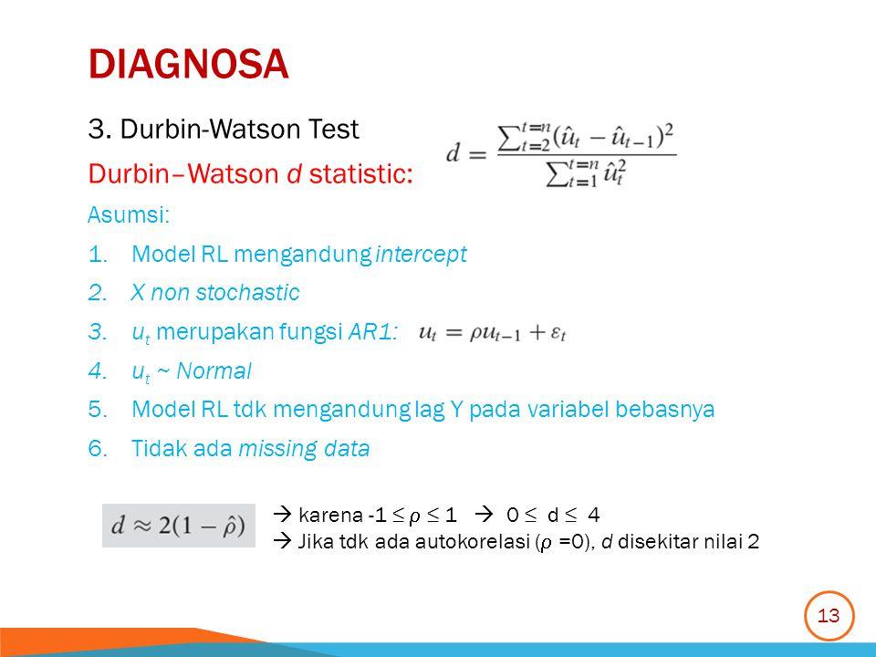 DIAGNOSA 3. Durbin-Watson Test Durbin–Watson d statistic: Asumsi: 1.Model RL mengandung intercept 2.X non stochastic 3.u t merupakan fungsi AR1: 4.u t