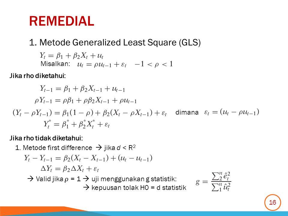 REMEDIAL 1. Metode Generalized Least Square (GLS) Misalkan: Jika rho diketahui: dimana Jika rho tidak diketahui: 1. Metode first difference  jika d <