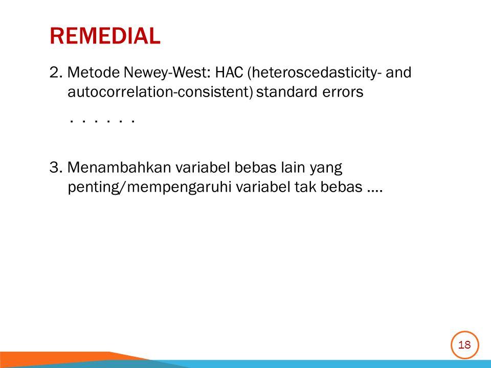 REMEDIAL 2. Metode Newey-West: HAC (heteroscedasticity- and autocorrelation-consistent) standard errors...... 3. Menambahkan variabel bebas lain yang