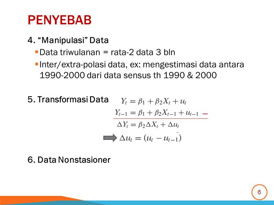 "PENYEBAB 4. ""Manipulasi"" Data  Data triwulanan = rata-2 data 3 bln  Inter/extra-polasi data, ex: mengestimasi data antara 1990-2000 dari data sensus"