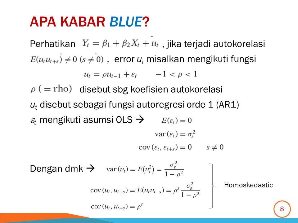 APA KABAR BLUE? Perhatikan, jika terjadi autokorelasi, error u t misalkan mengikuti fungsi disebut sbg koefisien autokorelasi u t disebut sebagai fung