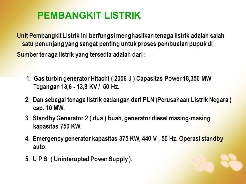 PEMBANGKIT LISTRIK Unit Pembangkit Listrik ini berfungsi menghasilkan tenaga listrik adalah salah satu penunjang yang sangat penting untuk proses pemb