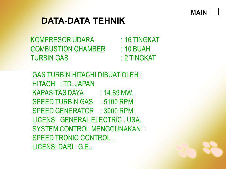 KOMPRESOR UDARA : 16 TINGKAT COMBUSTION CHAMBER : 10 BUAH TURBIN GAS : 2 TINGKAT GAS TURBIN HITACHI DIBUAT OLEH : HITACHI LTD. JAPAN KAPASITAS DAYA :
