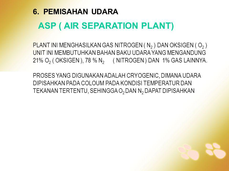 6. PEMISAHAN UDARA ASP ( AIR SEPARATION PLANT) PLANT INI MENGHASILKAN GAS NITROGEN ( N 2 ) DAN OKSIGEN ( O 2 ) UNIT INI MEMBUTUHKAN BAHAN BAKU UDARA Y
