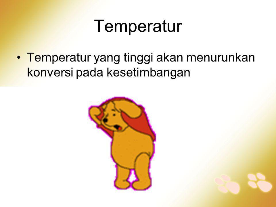 Temperatur •Temperatur yang tinggi akan menurunkan konversi pada kesetimbangan