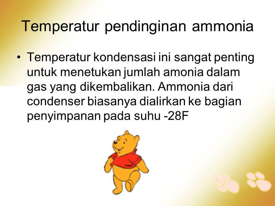 Temperatur pendinginan ammonia •Temperatur kondensasi ini sangat penting untuk menetukan jumlah amonia dalam gas yang dikembalikan. Ammonia dari conde