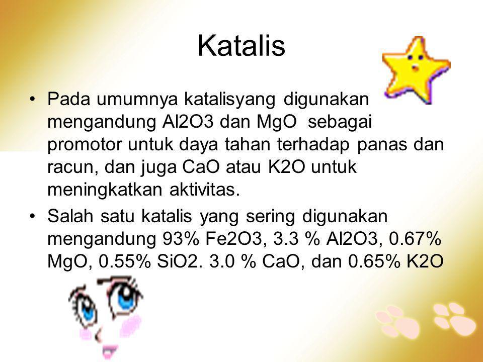 Katalis •Pada umumnya katalisyang digunakan mengandung Al2O3 dan MgO sebagai promotor untuk daya tahan terhadap panas dan racun, dan juga CaO atau K2O