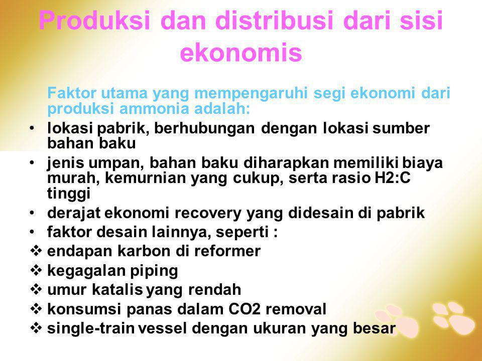Produksi dan distribusi dari sisi ekonomis Faktor utama yang mempengaruhi segi ekonomi dari produksi ammonia adalah: •lokasi pabrik, berhubungan denga