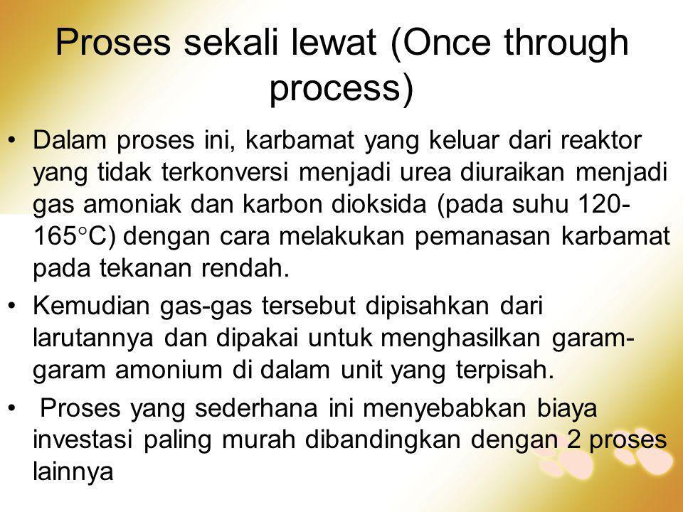 Proses sekali lewat (Once through process) •Dalam proses ini, karbamat yang keluar dari reaktor yang tidak terkonversi menjadi urea diuraikan menjadi