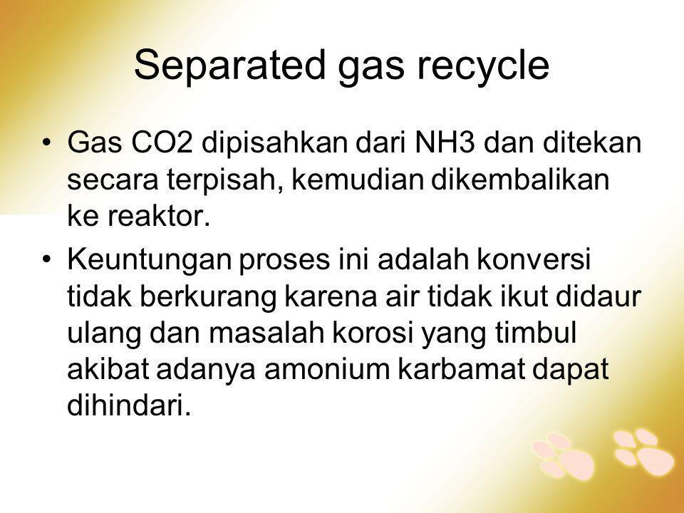Separated gas recycle •Gas CO2 dipisahkan dari NH3 dan ditekan secara terpisah, kemudian dikembalikan ke reaktor. •Keuntungan proses ini adalah konver