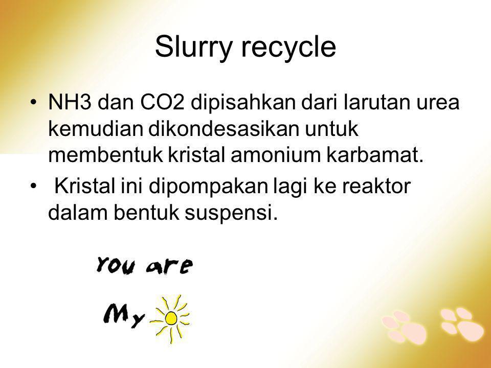 Slurry recycle •NH3 dan CO2 dipisahkan dari larutan urea kemudian dikondesasikan untuk membentuk kristal amonium karbamat. • Kristal ini dipompakan la