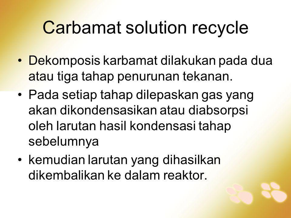 Carbamat solution recycle •Dekomposis karbamat dilakukan pada dua atau tiga tahap penurunan tekanan. •Pada setiap tahap dilepaskan gas yang akan dikon
