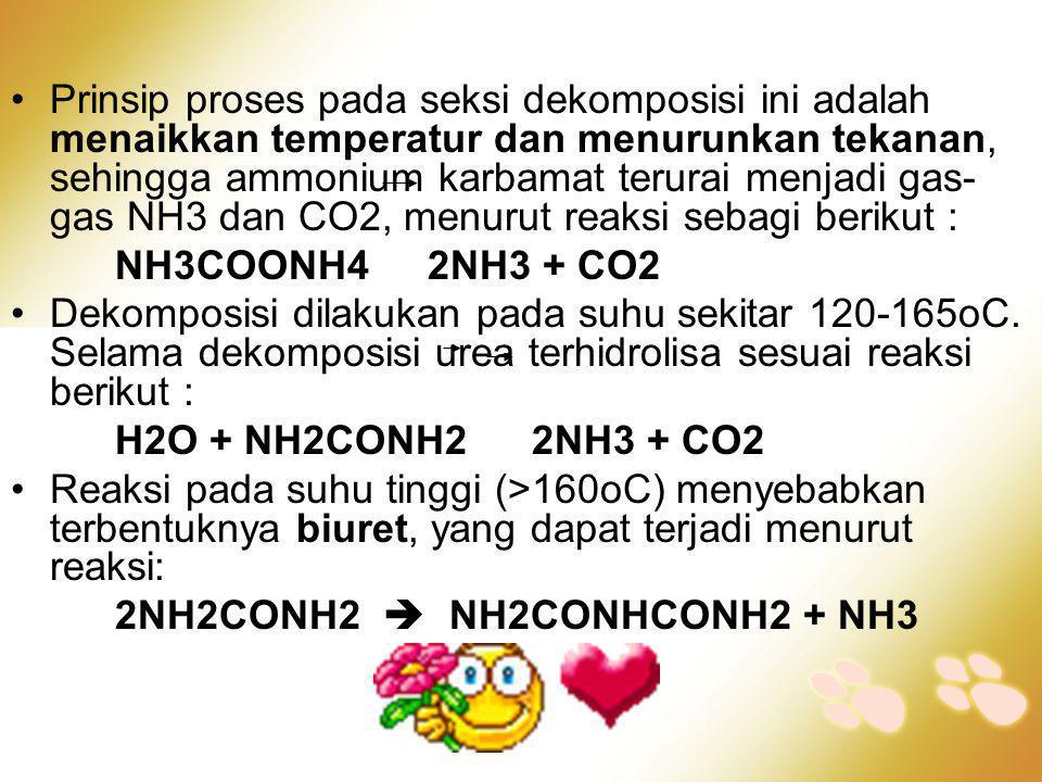 •Prinsip proses pada seksi dekomposisi ini adalah menaikkan temperatur dan menurunkan tekanan, sehingga ammonium karbamat terurai menjadi gas- gas NH3