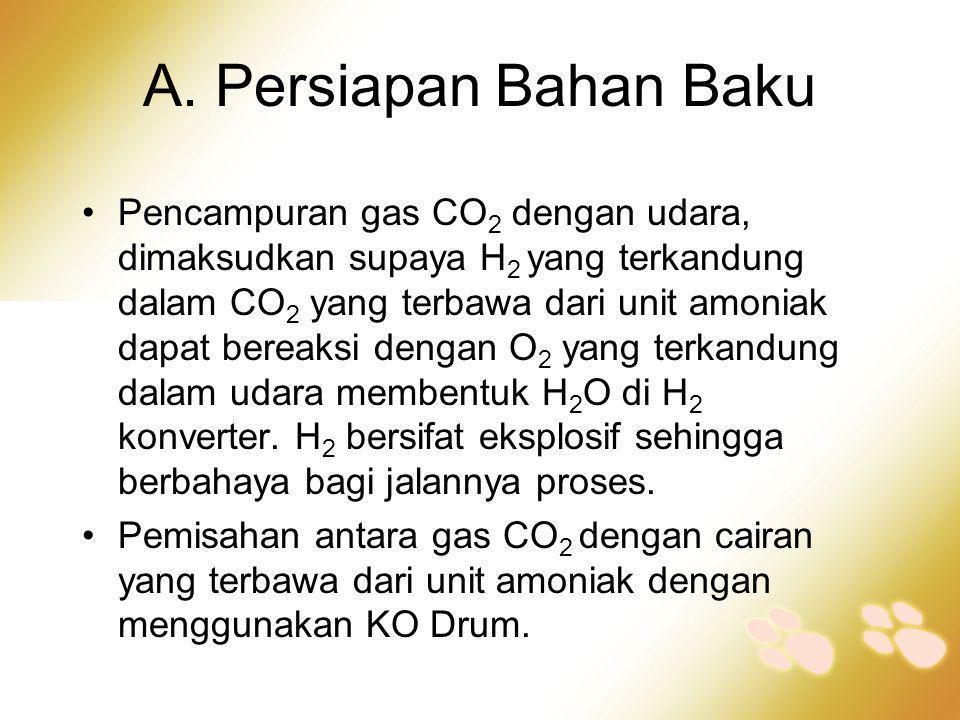 A. Persiapan Bahan Baku •Pencampuran gas CO 2 dengan udara, dimaksudkan supaya H 2 yang terkandung dalam CO 2 yang terbawa dari unit amoniak dapat ber