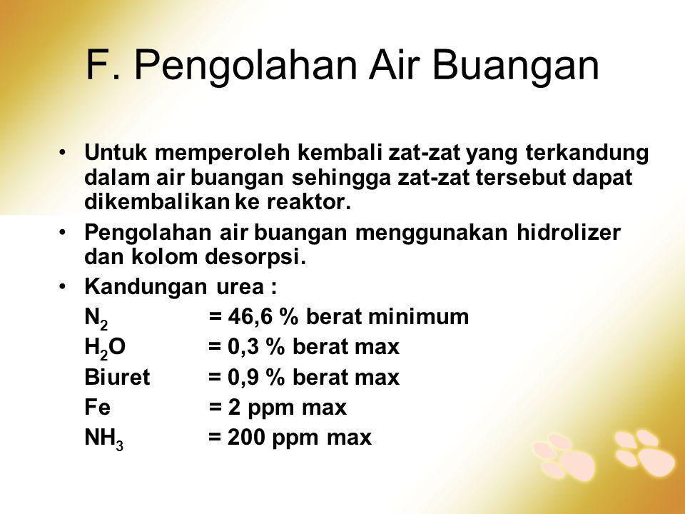 F. Pengolahan Air Buangan •Untuk memperoleh kembali zat-zat yang terkandung dalam air buangan sehingga zat-zat tersebut dapat dikembalikan ke reaktor.