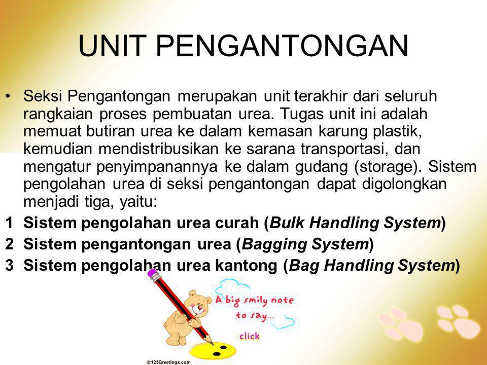 •Seksi Pengantongan merupakan unit terakhir dari seluruh rangkaian proses pembuatan urea. Tugas unit ini adalah memuat butiran urea ke dalam kemasan k