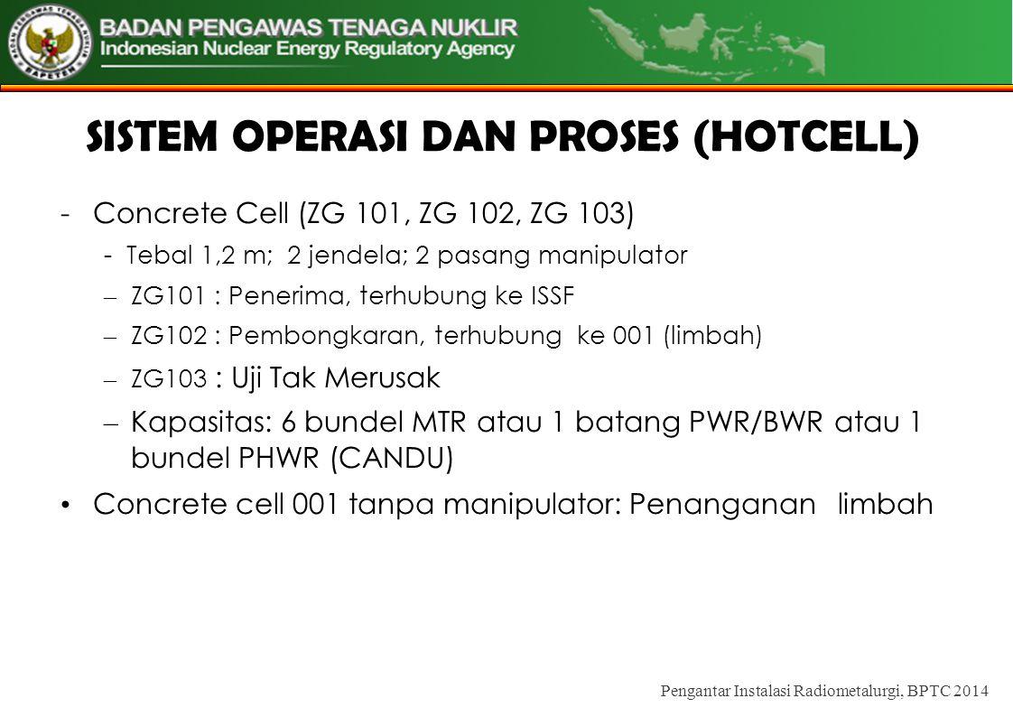 SISTEM OPERASI DAN PROSES (HOTCELL) -Concrete Cell (ZG 101, ZG 102, ZG 103) - Tebal 1,2 m; 2 jendela; 2 pasang manipulator – ZG101 : Penerima, terhubung ke ISSF – ZG102 : Pembongkaran, terhubung ke 001 (limbah) – ZG103 : Uji Tak Merusak – Kapasitas: 6 bundel MTR atau 1 batang PWR/BWR atau 1 bundel PHWR (CANDU) • Concrete cell 001 tanpa manipulator: Penanganan limbah Pengantar Instalasi Radiometalurgi, BPTC 2014