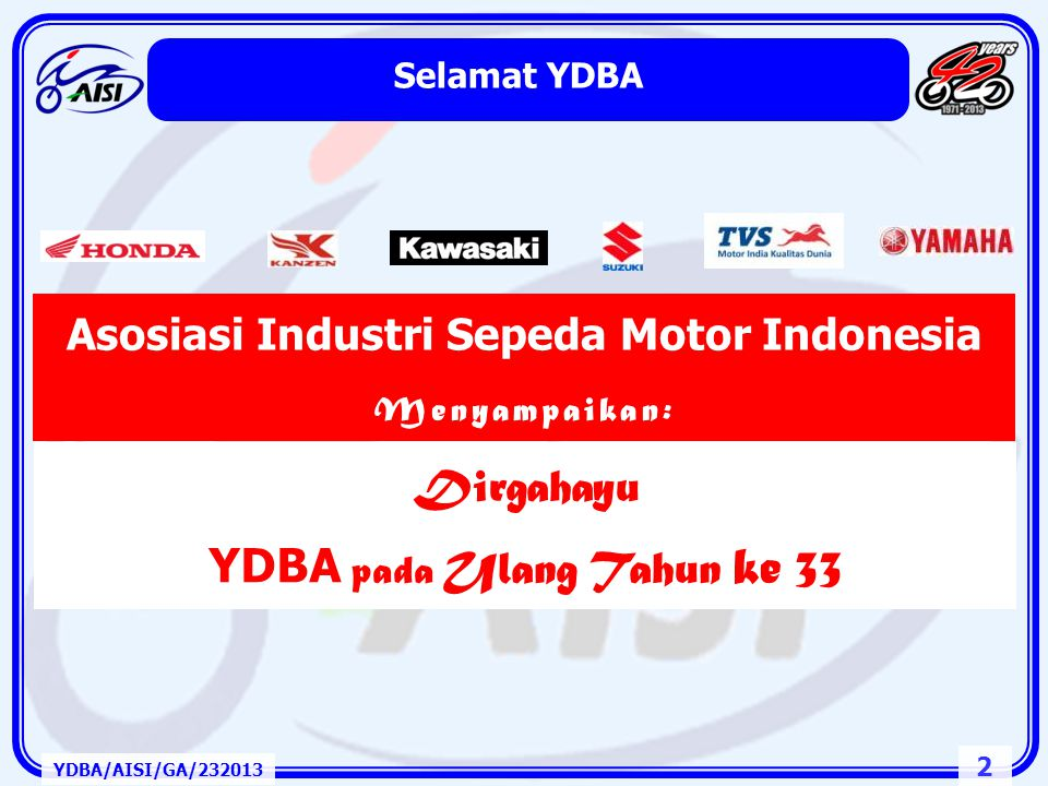 22 Rantai Pasok Industri Otomotif Indonesia YDBA/AISI/GA/232013 CKD / IKD of Unit or Component Parts OEM In - House OEM Parts Vendor Non -OEM Vendor Assembly REM Vendor CBU Genuine Parts Non -OEM Dealers Dealers REM Dealers