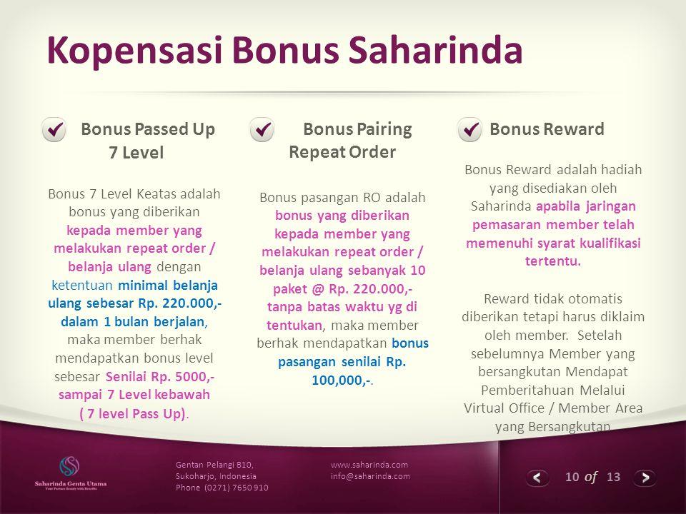 10 of 13 www.saharinda.com info@saharinda.com Gentan Pelangi B10, Sukoharjo, Indonesia Phone (0271) 7650 910 Kopensasi Bonus Saharinda Bonus Passed Up