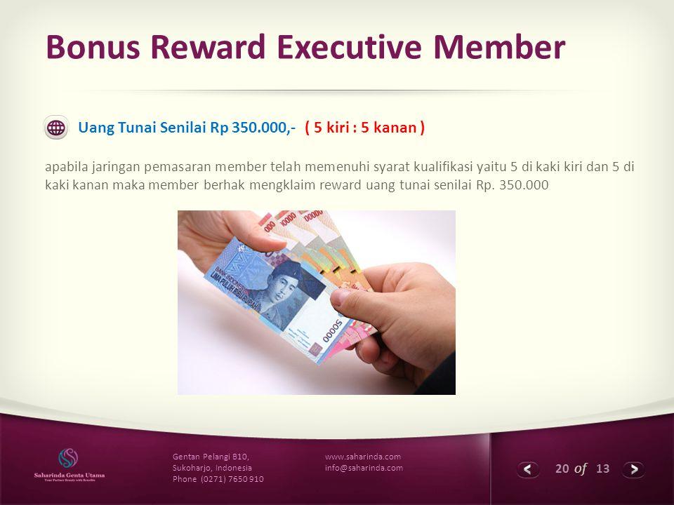 20 of 13 www.saharinda.com info@saharinda.com Gentan Pelangi B10, Sukoharjo, Indonesia Phone (0271) 7650 910 Bonus Reward Executive Member Uang Tunai
