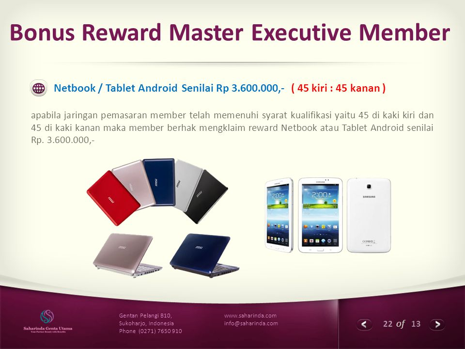 22 of 13 www.saharinda.com info@saharinda.com Gentan Pelangi B10, Sukoharjo, Indonesia Phone (0271) 7650 910 Bonus Reward Master Executive Member Netb