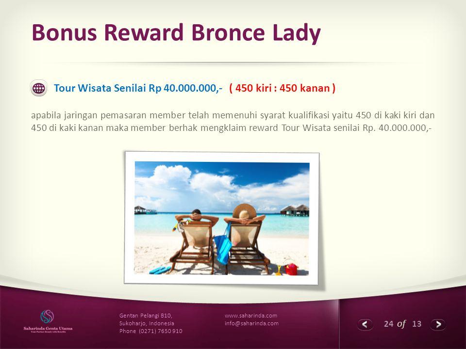24 of 13 www.saharinda.com info@saharinda.com Gentan Pelangi B10, Sukoharjo, Indonesia Phone (0271) 7650 910 Bonus Reward Bronce Lady Tour Wisata Seni