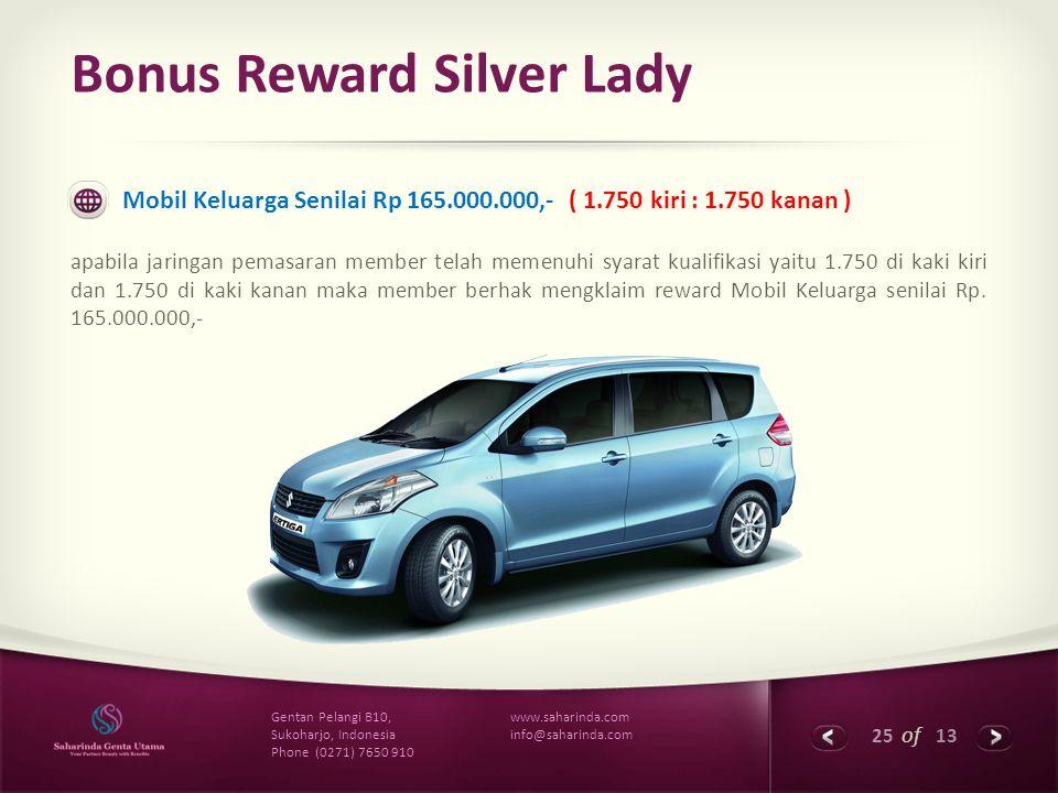25 of 13 www.saharinda.com info@saharinda.com Gentan Pelangi B10, Sukoharjo, Indonesia Phone (0271) 7650 910 Bonus Reward Silver Lady Mobil Keluarga S