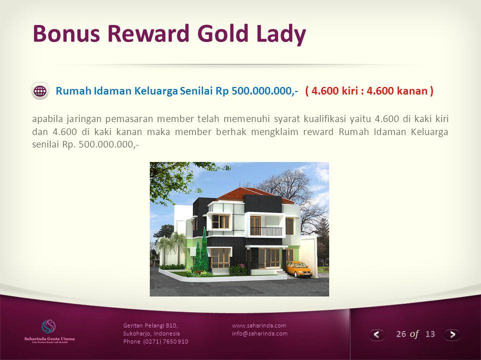 26 of 13 www.saharinda.com info@saharinda.com Gentan Pelangi B10, Sukoharjo, Indonesia Phone (0271) 7650 910 Bonus Reward Gold Lady Rumah Idaman Kelua