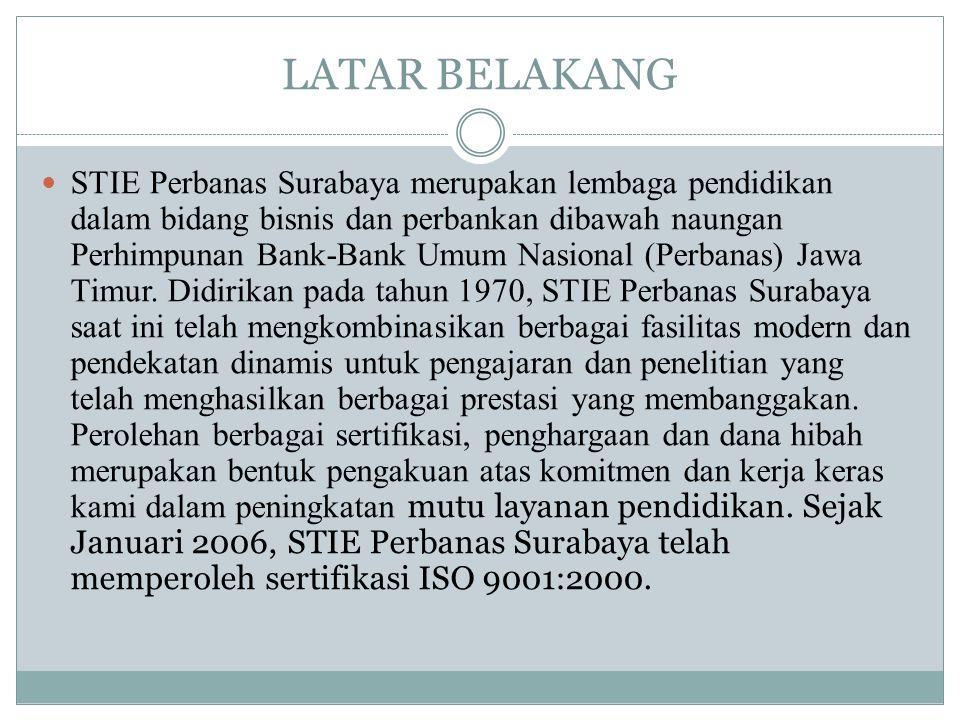 LATAR BELAKANG  STIE Perbanas Surabaya merupakan lembaga pendidikan dalam bidang bisnis dan perbankan dibawah naungan Perhimpunan Bank-Bank Umum Nasi