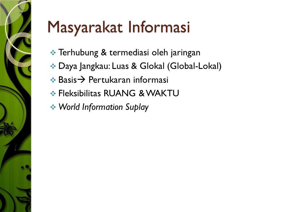 Masyarakat Informasi TTerhubung & termediasi oleh jaringan DDaya Jangkau: Luas & Glokal (Global-Lokal) BBasis  Pertukaran informasi FFleksibi