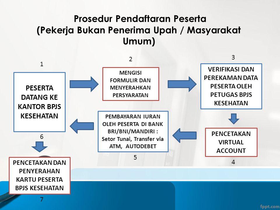 Prosedur Pendaftaran Peserta (Pekerja Bukan Penerima Upah / Masyarakat Umum) PESERTA DATANG KE KANTOR BPJS KESEHATAN MENGISI FORMULIR DAN MENYERAHKAN PERSYARATAN VERIFIKASI DAN PEREKAMAN DATA PESERTA OLEH PETUGAS BPJS KESEHATAN PENCETAKAN VIRTUAL ACCOUNT PEMBAYARAN IURAN OLEH PESERTA DI BANK BRI/BNI/MANDIRI : Setor Tunai, Transfer via ATM, AUTODEBET PENCETAKAN DAN PENYERAHAN KARTU PESERTA BPJS KESEHATAN 1 2 3 4 5 6 7
