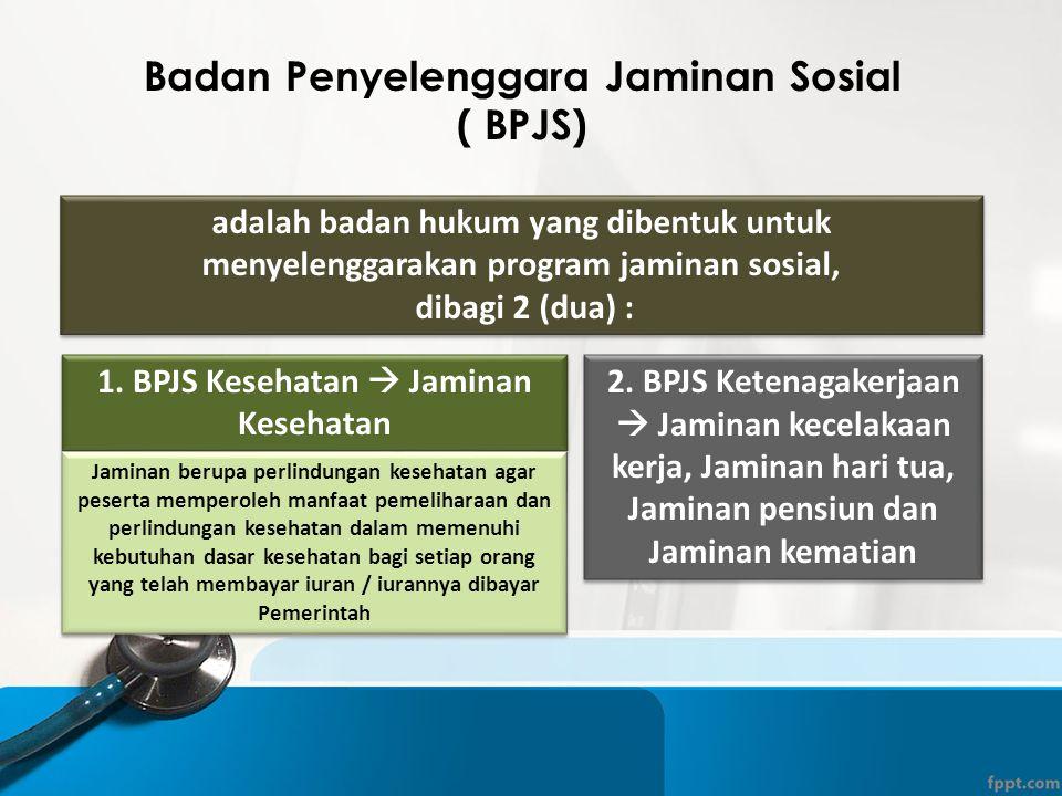 adalah badan hukum yang dibentuk untuk menyelenggarakan program jaminan sosial, dibagi 2 (dua) : adalah badan hukum yang dibentuk untuk menyelenggarak