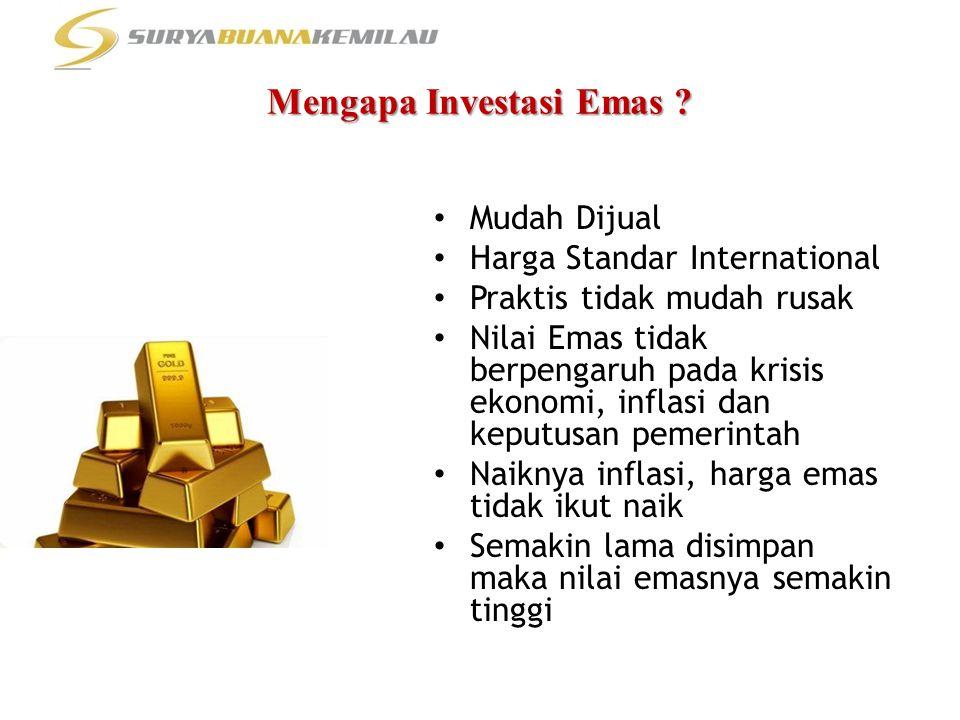 Mengapa Investasi Emas ? • Mudah Dijual • Harga Standar International • Praktis tidak mudah rusak • Nilai Emas tidak berpengaruh pada krisis ekonomi,